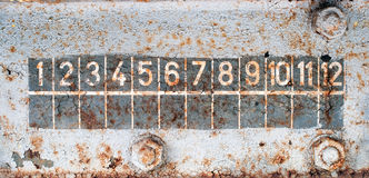 Numbers for chart on rusty old train wall Stock Images