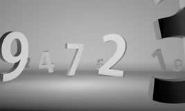 Numbers in chrome over white background Royalty Free Stock Images