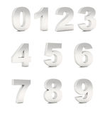 Numbers chromium silver Stock Photos