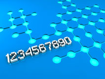 Numbers and circle pattern on blue background. Numbers and circle patterns connected on blue background Stock Images