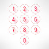 Numbers in circles set in modern flat design. Digits with long shadows. Vector illustration Stock Photo