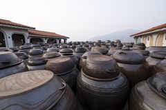 Numbers of clay pots. Dozens of large clay pots at Korean countryside royalty free stock images