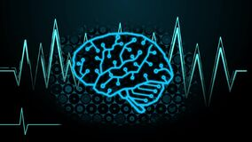 Numbers code transform to digital brain along with brainwave and hexagon digital background