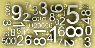 Numbers and codes. A lot of numbers in one background, mix of 3d and 2d elements Royalty Free Stock Photography