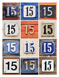 Numbers 15. Collage of House Numbers Fifteen Royalty Free Stock Images