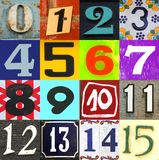 Numbers 0 to 15 on white background royalty free illustration