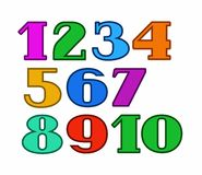 Numbers color, colored outline, white background, vector. Colored figures with serifs and thin colored outline on a white background Stock Images