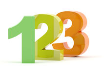 123 3D numbers. 123 numbers in color isolated Royalty Free Stock Images