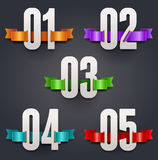 Numbers with color silk ribbons Stock Photos