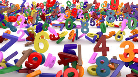 Numbers of colored falling Stock Image