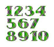 Numbers, colored lines on green background, vector. Green numerals with serif. Thin colored lines on a green field. The geometrical pattern Stock Photo