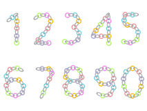 Numbers from colored and metallic chain Stock Photography