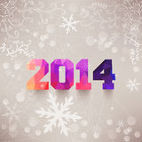 Numbers, 2014, colorful numbers. Elegant Christmas background wi. Th 2014 sign. Illustration. 2014, colorful numbers made of triangles. Snowflakes backdrop Royalty Free Stock Photo