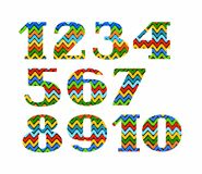 Numbers, colour, zigzag, vector. Stock Photo
