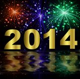 Numbers of coming year 2014 on a background a bright bange. R,illustration Stock Image