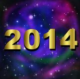 Numbers of coming year 2014 on a background a star galaxy. Illustration Stock Images