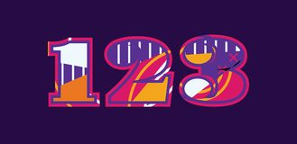 123 Concept Word Art Illustration. The numbers 123 concept written in colorful abstract typography. Vector EPS 10 available royalty free illustration