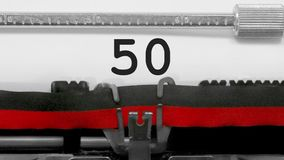 Numbers with countdown in the typewriter. From 100 to one stock video footage