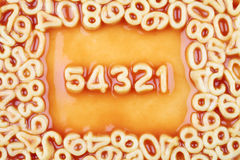 Numbers Counting Down in from Five in Tomato Spagh Royalty Free Stock Photos