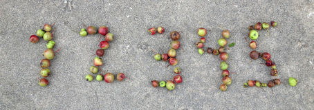 Numbers. Crab apples in the form of numbers 1 to 5 Stock Photos