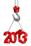 Numbers 2013 on crane hook   (clipping path included) Stock Photos