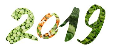 2019 Numbers Creative Collage with Frozen Mixed Vegetables. 2019 Numbers Collage with Frozen Mixed Vegetables Isolated on White Background. Creative New Year stock photos