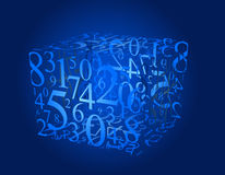 Numbers cube. Blue background with numbers cube Stock Photos