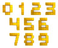 Numbers 3d cubic golden Royalty Free Stock Photography
