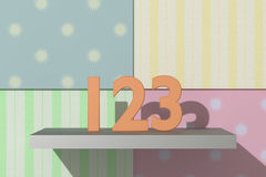 123 numbers. 3d rendering of a 123 numbers on a colored background Royalty Free Stock Photo