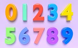 Numbers 3d rendering Royalty Free Stock Photos