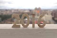 2016 numbers. 3d rendering of 2016 wooden characters on a window stock illustration