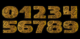 Numbers decorative set with a paisley zen doodle tattoo ornament Royalty Free Stock Photo