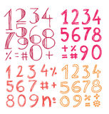 Numbers doodle collection, hand drawn illustration. Royalty Free Stock Images