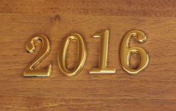 Numbers 2016 on door - new year background Royalty Free Stock Image