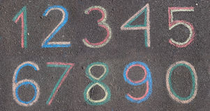 Numbers drawn on asphalt with chalk Royalty Free Stock Photos