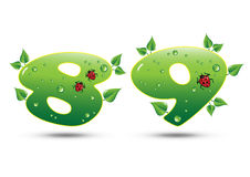 Numbers Eight and Nine Green Nature Concept vector illustration