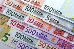 Numbers on the euro banknotes. Close-up Stock Photography