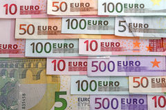 Numbers on the euro. Banknotes close-up Stock Image
