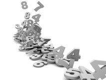 Numbers falling. Many numbers falling in white background 3d Stock Photo