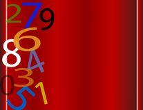 Numbers falling. On red folding gradient background with copy space Royalty Free Stock Photography