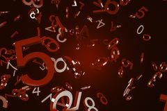Numbers falling over red background. Big dark red numbers falling over red background. Concept of math, arithmetics and economy. 3d rendering stock illustration