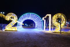 Numbers figure character 2019 neon. Symbol of the year urban decoration Christmas decoration radiance luminosity large number new year winter holiday royalty free stock image