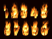 Numbers in the fire. The alphabet in the flame. Font on fire. Fire font Stock Image