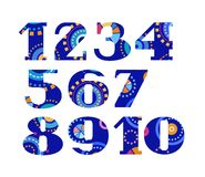 Numbers, fireworks, colorful, vector. Vector numerals with serif. Geometric, abstract figure on a blue background Stock Images