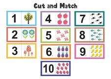 Free Numbers Flash Cards For Kids. Cut And Match Pictures Stock Image - 185580121
