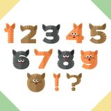Numbers, flat design in cats style Royalty Free Stock Image