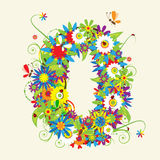 Numbers, floral design. Royalty Free Stock Photography
