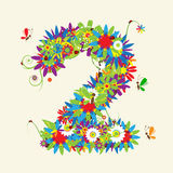 Numbers, floral design. Royalty Free Stock Photo