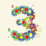 Numbers, floral design. Stock Photos