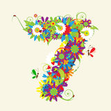 Numbers, floral design. Royalty Free Stock Photos